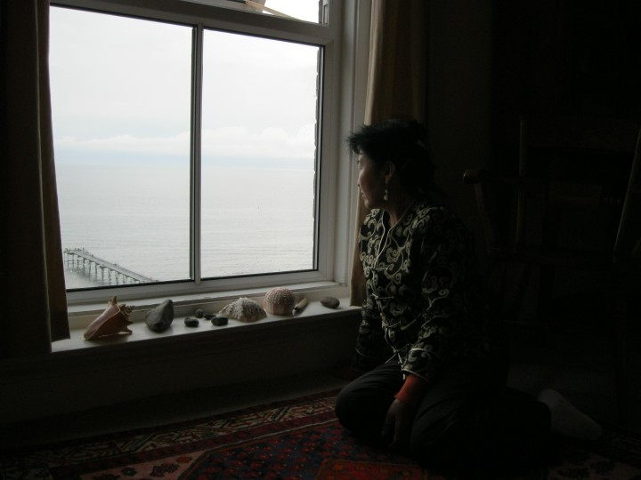 My mum Bayarsanaa looking at the North Sea, Saltburn-by-the-Sea, North Yorkshire, England, UK